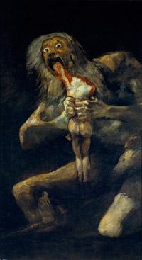 Saturno devorando a un hijo (1818-1923, Francisco de Goya
